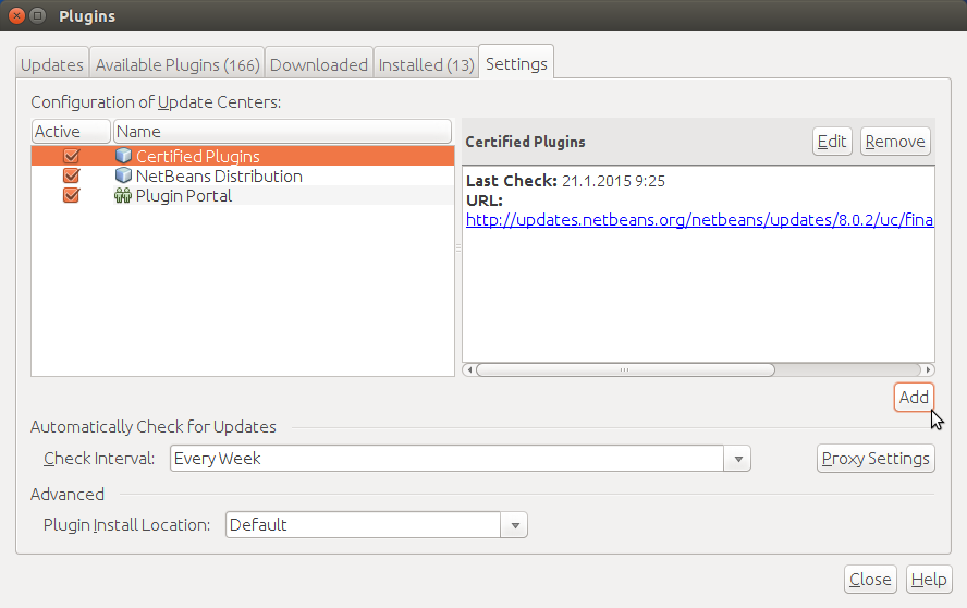 NetBeans Plugins Settings->Add